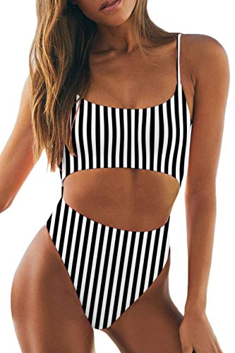 (LEISUP Womens Spaghetti Strap Lace Up Cutout High Cut Thong One Piece Swimsuit,Black Stripe L)