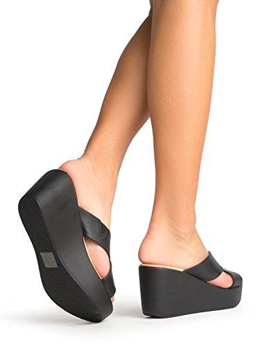 3b242c4de5b J. Adams Cross Band Platform Sandals – Comfortable Open Toe Flatform –  Casual Slip On