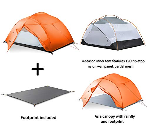 MIER 3 Person Camping Tent Lightweight Outdoor Backpacking Tent with Footprint, Waterproof Easy Setup 3 Season 4 Season