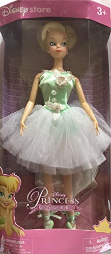 (Princess Tinkerbell Disney Store Doll w Glittery Dress & Doll Stand Display (2000))