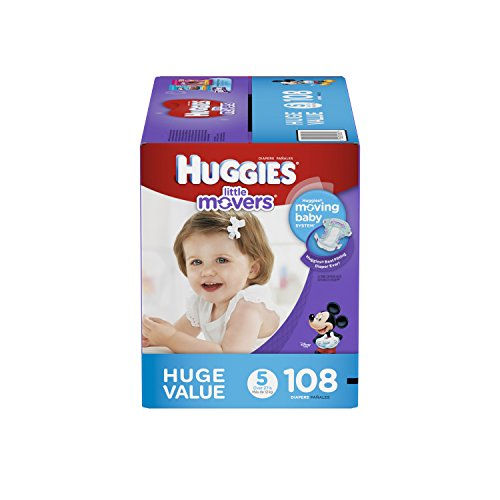 HUGGIES Little Movers Diapers, Size 5, 108 Count (Packaging May Vary)