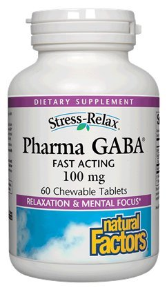 Pharma GABA 100mg - facteurs de Stress-Relax naturel 60 comprimés à croquer
