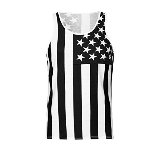 Men Vest Sleeveless Tank Top American Flag Shirt Tee Top Boy Hip hop Basketball(Black,L) -