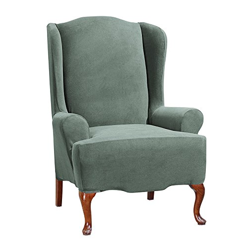 - SureFit Stretch Morgan - Wing Chair Slipcover - Gray