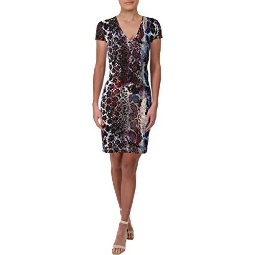 Just Cavalli Womens Short Sleeves Animal Print Mini Dress Purple 42