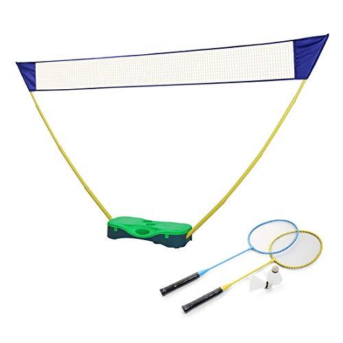 Portzon Portable Badminton Net Set, Tennis Volleyball Outdoor Backyard Folding Easy with 2 Rackets and 2 Shuttlecocks Carry Box (Green)