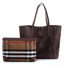 Kattee Vintage Look Women' s Genuine Leather Tote Shoulder Bag
