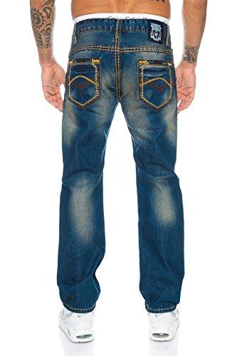 Straight Creek Jeans Dunkelblau Vintage Uomo Rock qZpwBAEn