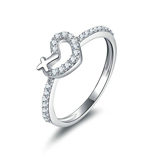 - KnSam Heart Cross Simulated Diamond Promise Engagement Ring Bridal Sets 925 Sterling Silver Size 6.5