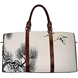 "Flying Birds Decor Exquisite Travel Bag,Ink Style Japanese Pine Tree with Birds Friends Hope Swallow Flying to the Future for College,18.62""L x 8.5""W x 9.65""H"