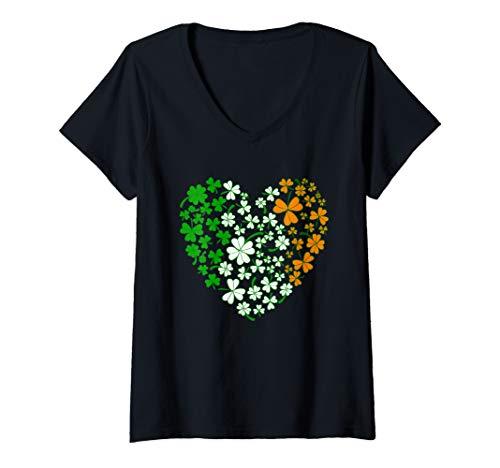 Womens Irish Flag Heart of Shamrock for Ireland Lover V-Neck T-Shirt