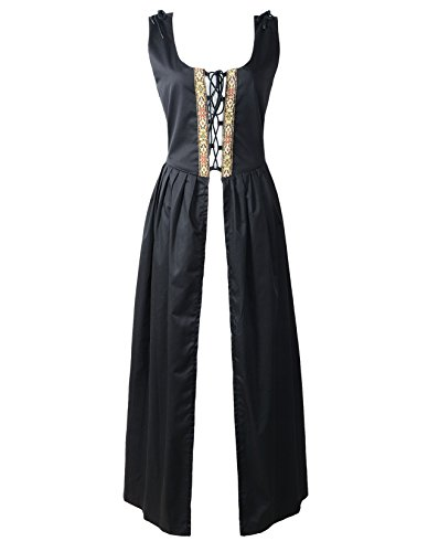 [Renaissance Medieval Pirate Peasant Costume Irish Over Dress Fitted Bodice (L, Black)] (Green Medieval Dress)