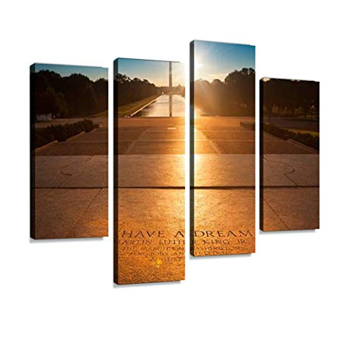 IGOONE 4 Panels Canvas Paintings - Washington Monument from The Lincoln Memorial inspirings and - Wall Art Modern Posters Framed Ready to Hang for Home Wall Decor