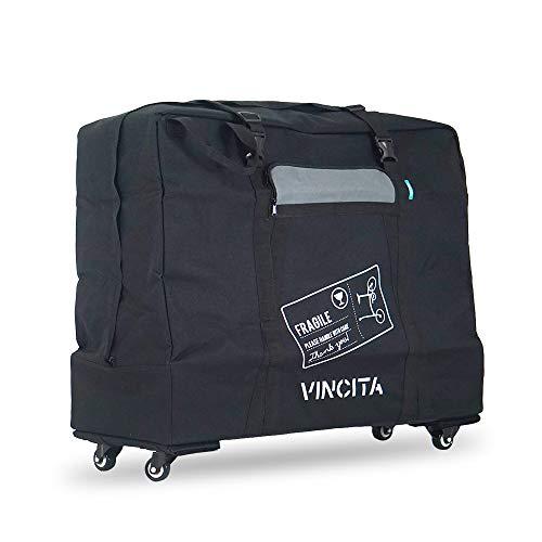 Vincita Soft Transport Bag with 4 Wheels Folding Bike Pouch – Bicycle Print Plus Garment Travel Case MTB Road Mountain Transport Outdoors – 20 Inch Long
