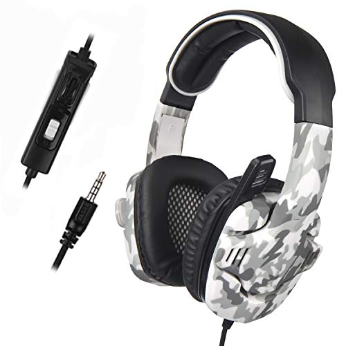 Gaming Headset for PS4 New Xbox one SADES SA708GT Over Ear Headphone with Noise Cancelling Mic Volume Control for Laptop Mac PC Phone (Gray Camouflage ()
