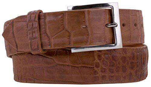 - EL PRESIDENTE Cowboy Professional - Mens Chedron Alligator Skin Leather Cowboy Belt Silver 38