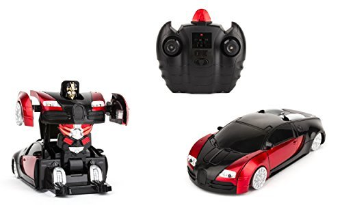 Optimus Prime Transforming Costumes (Wall-Climbing Fast Electric RC Toys Autobots Red Transformable Robot Cars + Remote Control - The Perfect Gift For Kids! Drives On The Wall, Ceiling and Floor)