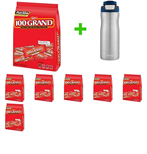 100 Grand Fun Size Chewy Caramel Milk Chocolate Crispy Crunchies Candy Bars - 11oz(7 PACK)+ Contigo Autoseal Chill Stainless Steel Hydration Bottle 24oz(Combo Offer)