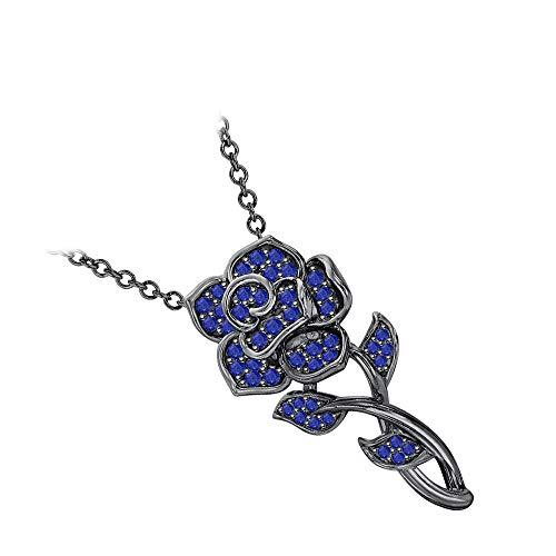 RUDRAFASHION Beautiful Rose Floral Pendant Necklace Blue Sapphire 14k Black Gold Over .925 Sterling Silver for Womens