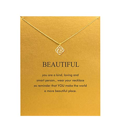 - Hundred River Friendship Anchor Compass Necklace Good Luck Elephant Pendant Chain Necklace with Message Card Gift Card (Rose)