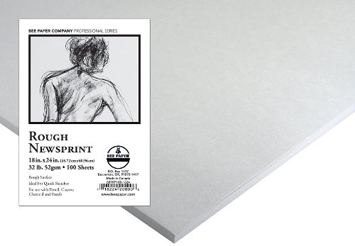 Bee Paper Rough Newsprint Pack, 18-Inch by 24-Inch, 500 Sheets per Pack