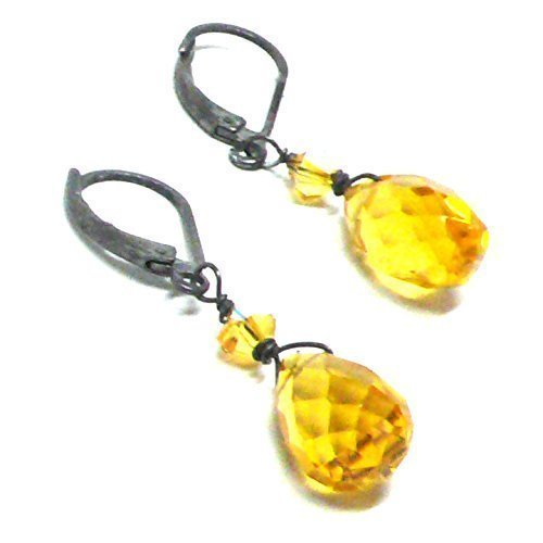 (Yellow Glass Briolette Lever Back Earrings Swarovski Crystal Oxidized Sterling Silver)