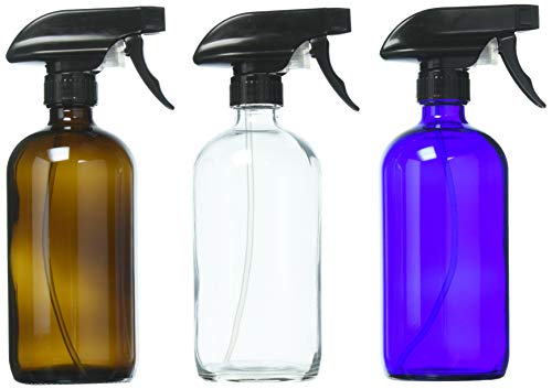 DII Empty Refillable 16oz Glass Spray Bottles with Chalk Labels (3 Pack) - Mixing Containers for Essential Oils Blends, Variety Colors (Clear, Amber, Cobalt Blue)