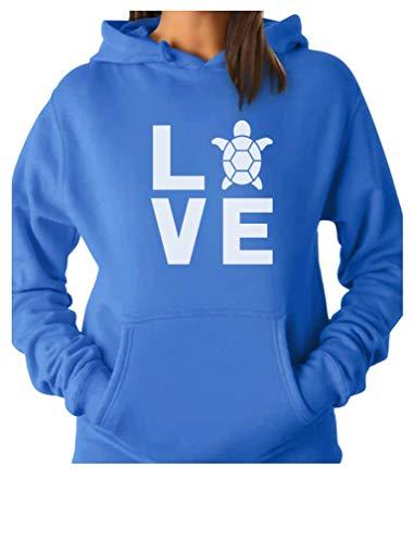 - TeeStars - I Love Turtles - Animal Lover Turtle Print Cute Women Hoodie Medium California Blue