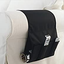 WINOMO Sofa Armrest Caddy Pocket Organizer Fits for Phone Book Magazines TV Remote Control (Black)