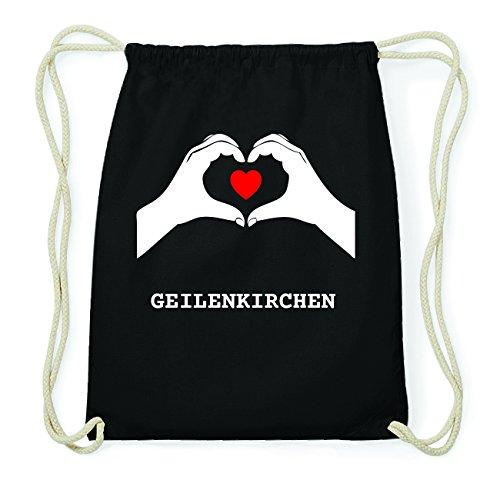 JOllify GEILENKIRCHEN Hipster Turnbeutel Tasche Rucksack aus Baumwolle - Farbe: schwarz Design: Hände Herz