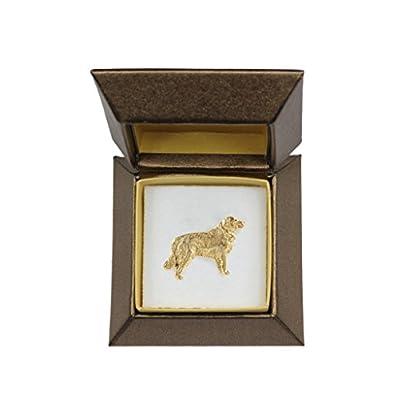 Nice Golden Retriever (body), dog pin, badge, brooch, millesimal fineness 999, in casket, box, ArtDog supplier