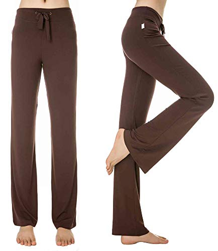 KY-YPFW Women's Loose Drawstring Trouser Wide Leg Yoga Pants for Sporting Straight Pants (Coffee, ()