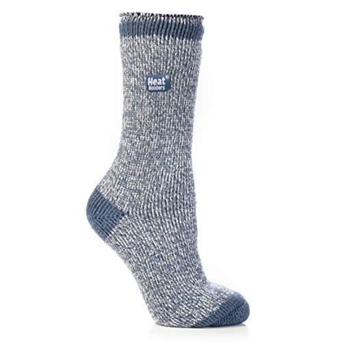 HEAT HOLDERS Twist Crew Sock, Denim/Cream