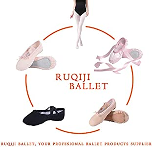 Canvas Ballet Shoes//Ballet Slippers//Dance Shoes Satin Ballet Shoes with Ribbon//Full Sole Ruqiji Ballet Shoes for Girls//Toddlers//Kids//Women