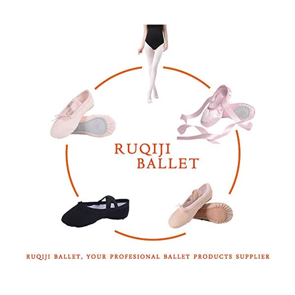 Ruqiji Leather Ballet Shoes for Girls/Toddlers/Kids/Women, Full Sole Leather Ballet...