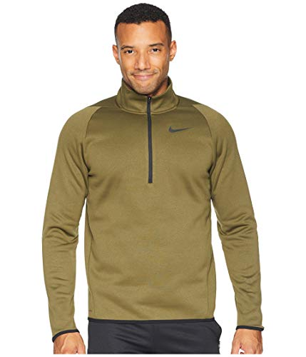 Nike Men's Therma 1/4 Zip Fleece Pullover (Olive Canvas/Black, Small)