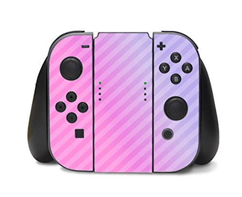 Pink Diagonal Lines Gradient Nintendo Switch Controller Vinyl Decal Sticker Skin by Moonlight Printing