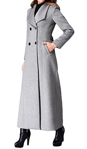 Women's Double-breasted coat cashmere coat Long Trench Coat Woolen coat (US 12) - Double Cashmere Breasted