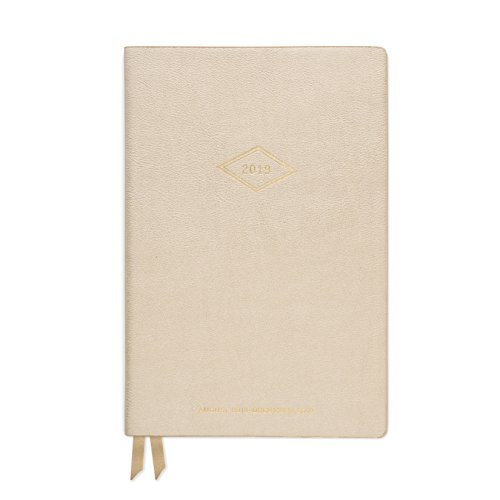 (DesignWorks Ink Soft Cover Vegan Leather 17-Month Medium Agenda Book, Gold- Vintage Diamond Year)