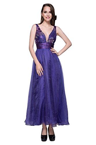 Beauty Doppel Satin Abendkleider Ausschnitt Emily Linie Violett V A tiefem rOOaqWtc