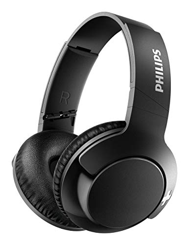(Philips Bass+ SHB3175 Wireless Headphones, up to 12 Hours of Playtime - Matte Black)