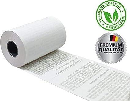 Rollos de papel termosensible EC con texto