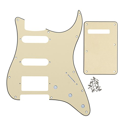 IKN 3Ply Cream HSS 11 Holes Strat Electric Guitar Pickguard and Back Plate Set for Standard Strat Style