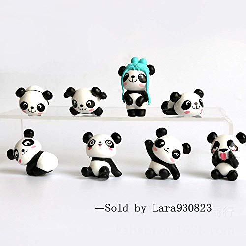 8 pcs (1 set) Cute Panda Toys Figurines Playset, Cake Decoration