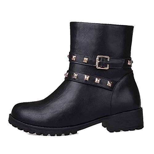 AgooLar Women's Low-top Solid Zipper Round Closed Toe Low-Heels Boots Black sqkdS