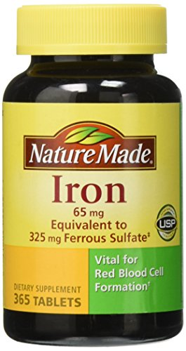 Nature Made Iron 65 mg, 365 Tablets (Best Prenatal Vitamins For Anemia)