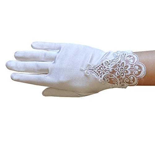 ZaZa Bridal Girl's Satin Gloves with Embroidery & rhinestone accents - Girl's Size Medium (8-12yrs)/White