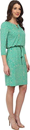 Jessica Howard Women's 3/4 Sleeve Hardware Keyhole Neck Blouson Dress w/ Tie Green Dress 6