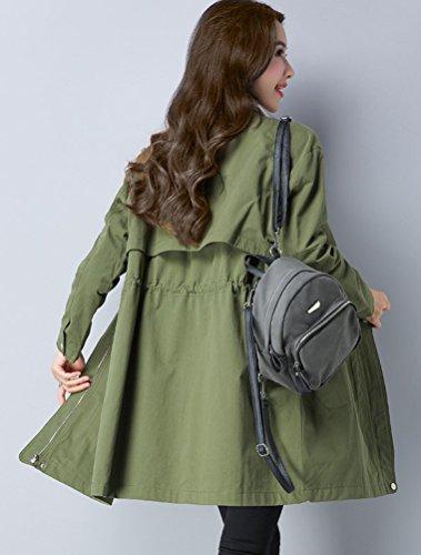 Fermeture Elastique Vert Manteau Veste Avec Chic Poches À Vogstyle Taille Femme Trench Boutonné wz4UFx