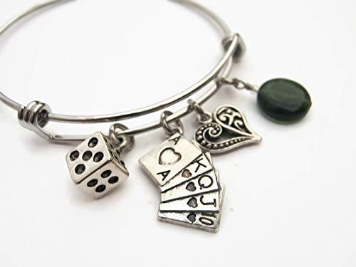 Gambler Bracelet with Green Agate, Expandable Stainless Steel Bangle Bracelet, Poker Jewelry, Gambling Gift